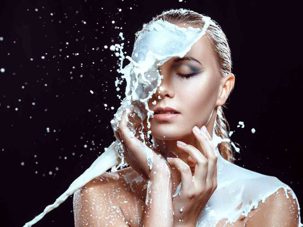 row milk on face for Natural Glowing Skin