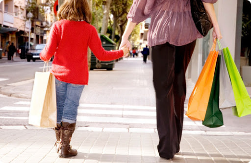 Mothers Day 2020: shopping mom and kid
